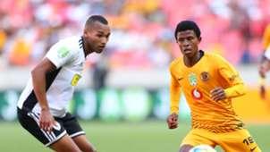 Happy Mashiane of Kaizer Chiefs challenged by Dante Lamb of The Magic
