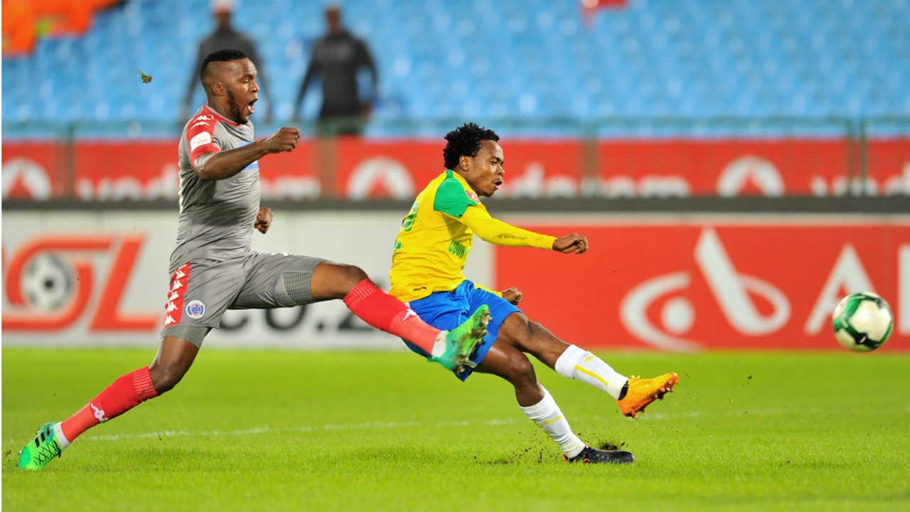 Morgan Gould and Percy Tau - Sundowns v SuperSport