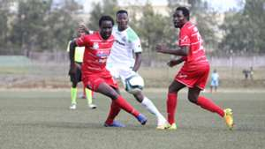 Jerry Santos and Simon Mbugua of Posta Rangers v Francis Mustapha of Gor Mahia