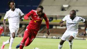 Gor Mahia players Joash Onyango and Shafik Batambuze v Malawi Nyasa Bullets