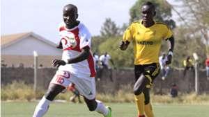 MOSES MUDAVADI of Homeboyz v JOSEPH WAITHIRA of Wazito FC.