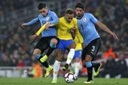 Lucas Torreira Neymar Bruno Mendez Uruguay Brazil
