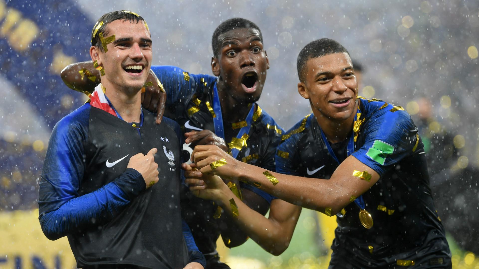 Antoine Griezmann Paul Pogba Kylian Mbappe France WC Final 2018