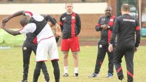 Harambee Stars coach Francis Kimanzi and Sebastien Migne.