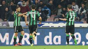 Sassuolo celebrating Sassuolo Napoli Serie A 29112016