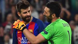 Gerard Pique Gianluigi Buffon Juventus Barcelona UCL 11042017