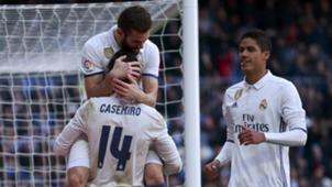 Casemiro, Nacho Fernández and Raphael Varane, celebrating a goal for Real Madrid