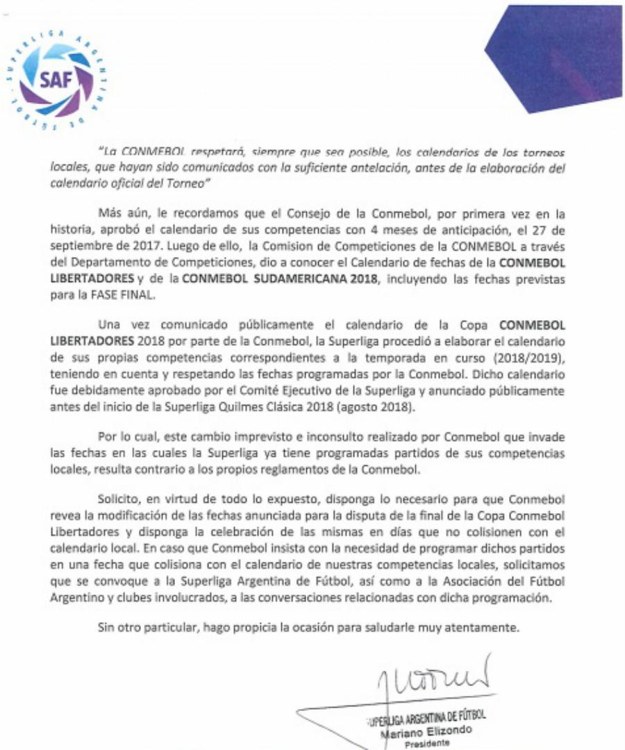 Carta Superliga Conmebol Libertadores 2