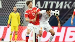 Miranchuk Sergio Busquets Russia Spain Friendly