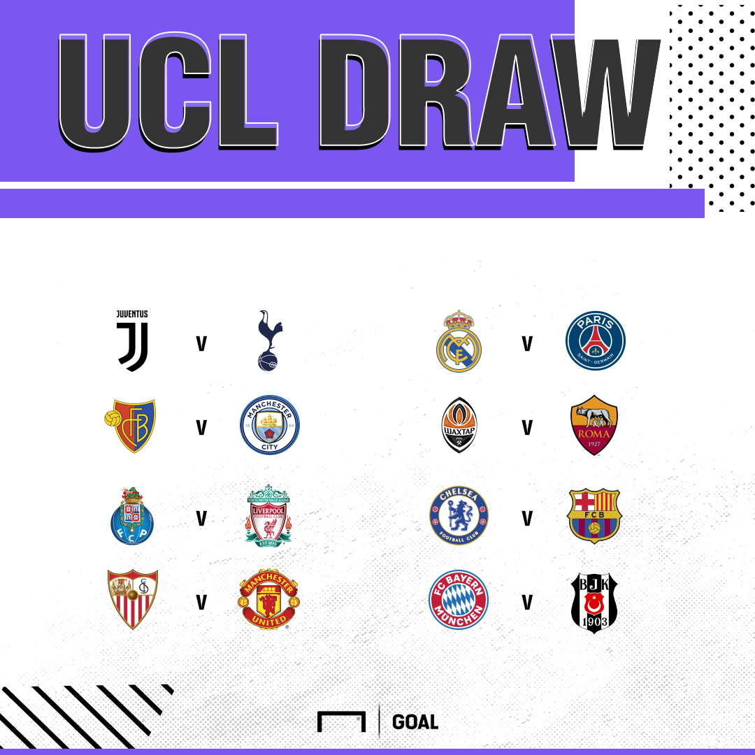 UCL last 16 Draw graphic