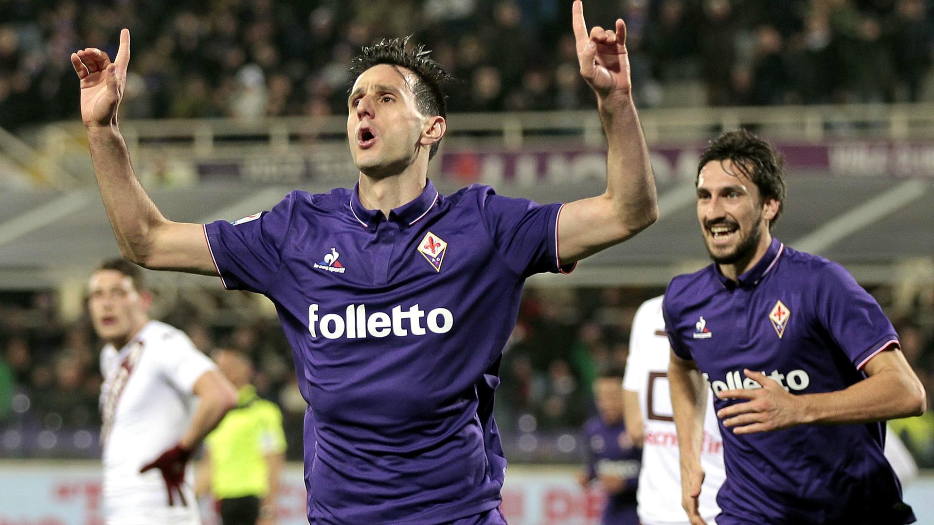 Nikola Kalinic celebrates his scoring Fiorentina Torino Serie A 27022017
