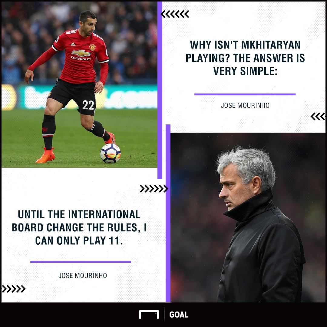 Jose Mourinho Henrikh Mkhitaryan Manchester United absence