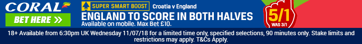 England to score in both halves - Coral offer footer