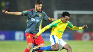 Percy Tau of Mamelodi Sundowns challenged by Iheb Mbarki of Esperance