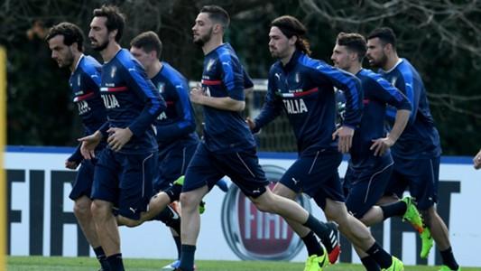 Italy training session Romagnoli Mattia De Scigio Marco Parolo Andrea Belotti