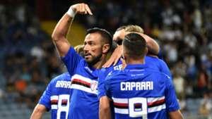 Sampdoria celebrating Sampdoria Sassuolo Serie A 08202017