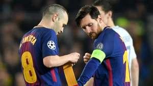Andres Iniesta Lionel Messi Barcelona 2017-18
