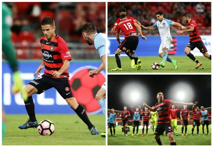Nicolas Martinez Bruno Fornaroli Brendon Santalab Western Sydney Wanderers v Melbourne City A-League 24032017