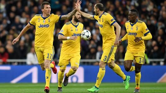 Juventus celebrating Real Madrid Juventus Champions League