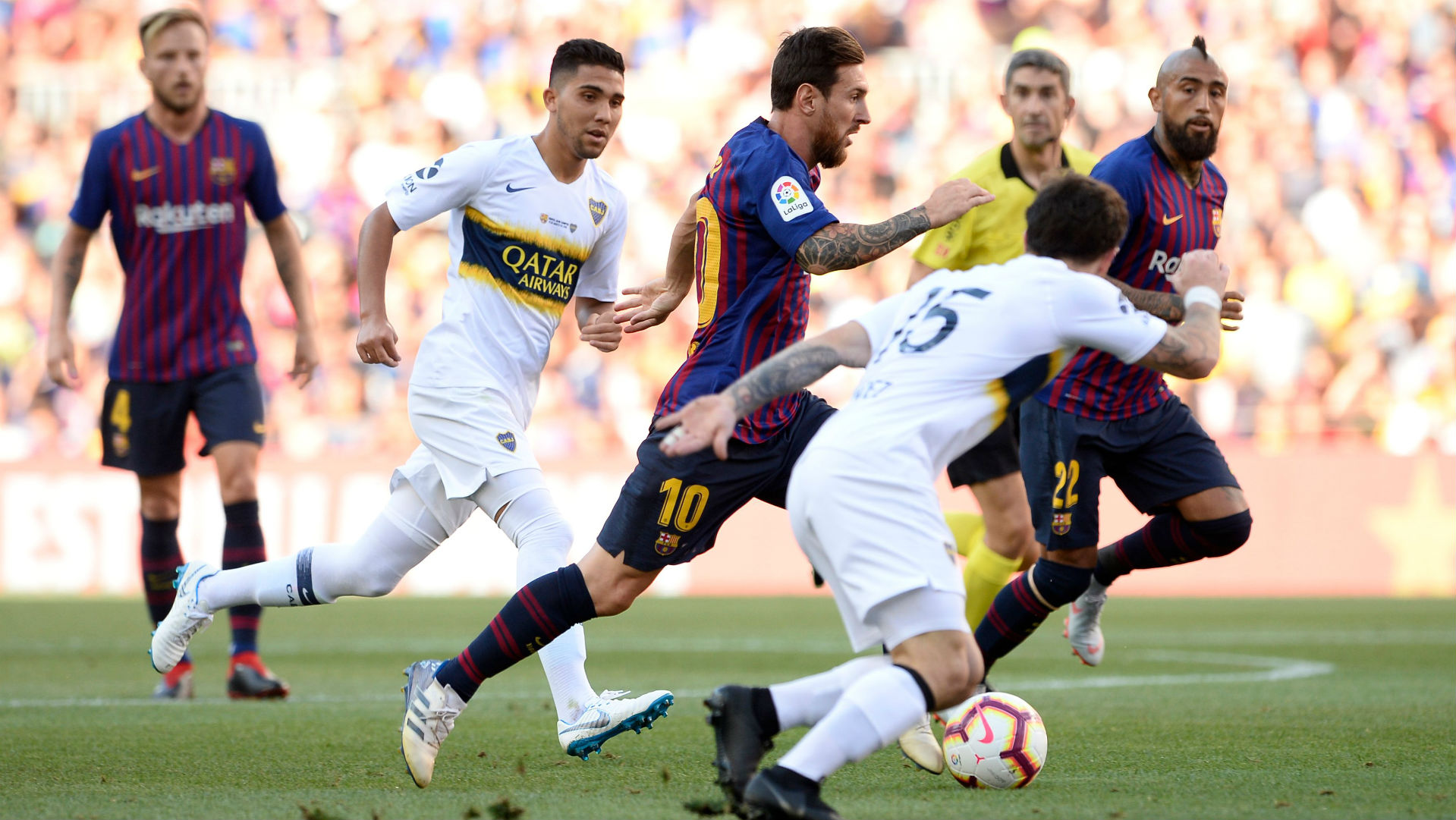 150818 Boca Juniors Barcelona Lionel Messi Emanuel Reynoso Arturo Vidal Ivan Rakitic