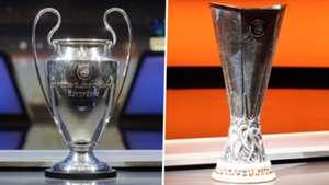 Champions League Europa League trophy