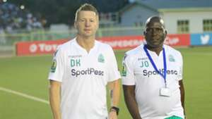 Gor Mahia coach Dylan Kerr and Jolawi Abondo.