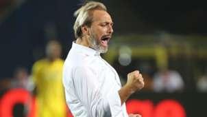 Sebastien Desabre head coach of Uganda celebrates.