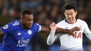 Wes Morgan Son Heung-min Leicester City Tottenham 2018