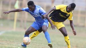 Boniface Akenga of Nakumatt and Noah Wafula of Tusker
