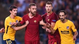 Stefan Savic Daniele de Rossi Edin Dzeko Juanfran Roma Atletico de Madrid Champions League 12092017
