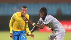 Thapelo Morena of Mamelodi Sundowns challenged by Kouame Alphonsoe Yao of Asec Mimosas, January 2019
