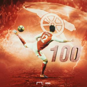 Olivier Giroud 100 Arsenal goals GFX