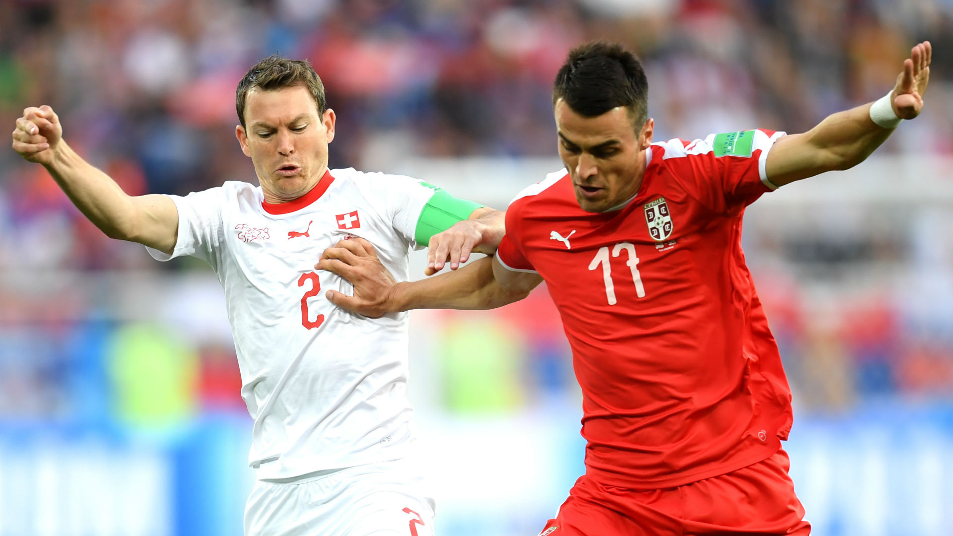 Stephan Lichtsteiner Switzerland Filip Kostic Serbia World Cup