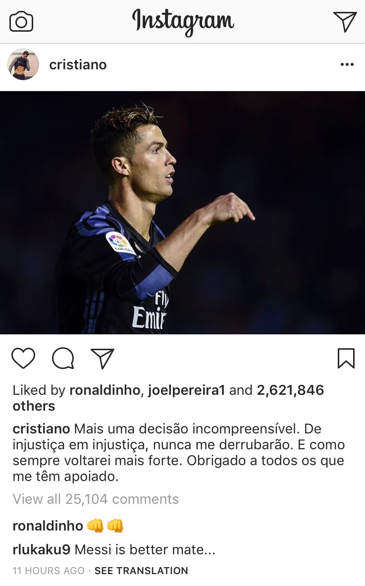 Cristiano Ronaldo Romelu Lukaku Instagram Comment