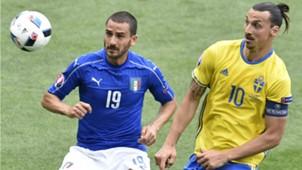 Leonardo Bonucci Zlatan Ibrahimovic Italy Sweden Euro 2016