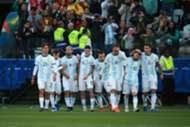 Jogadores da Argentina comemoram gol diante do Chile, na Arena Corinthians