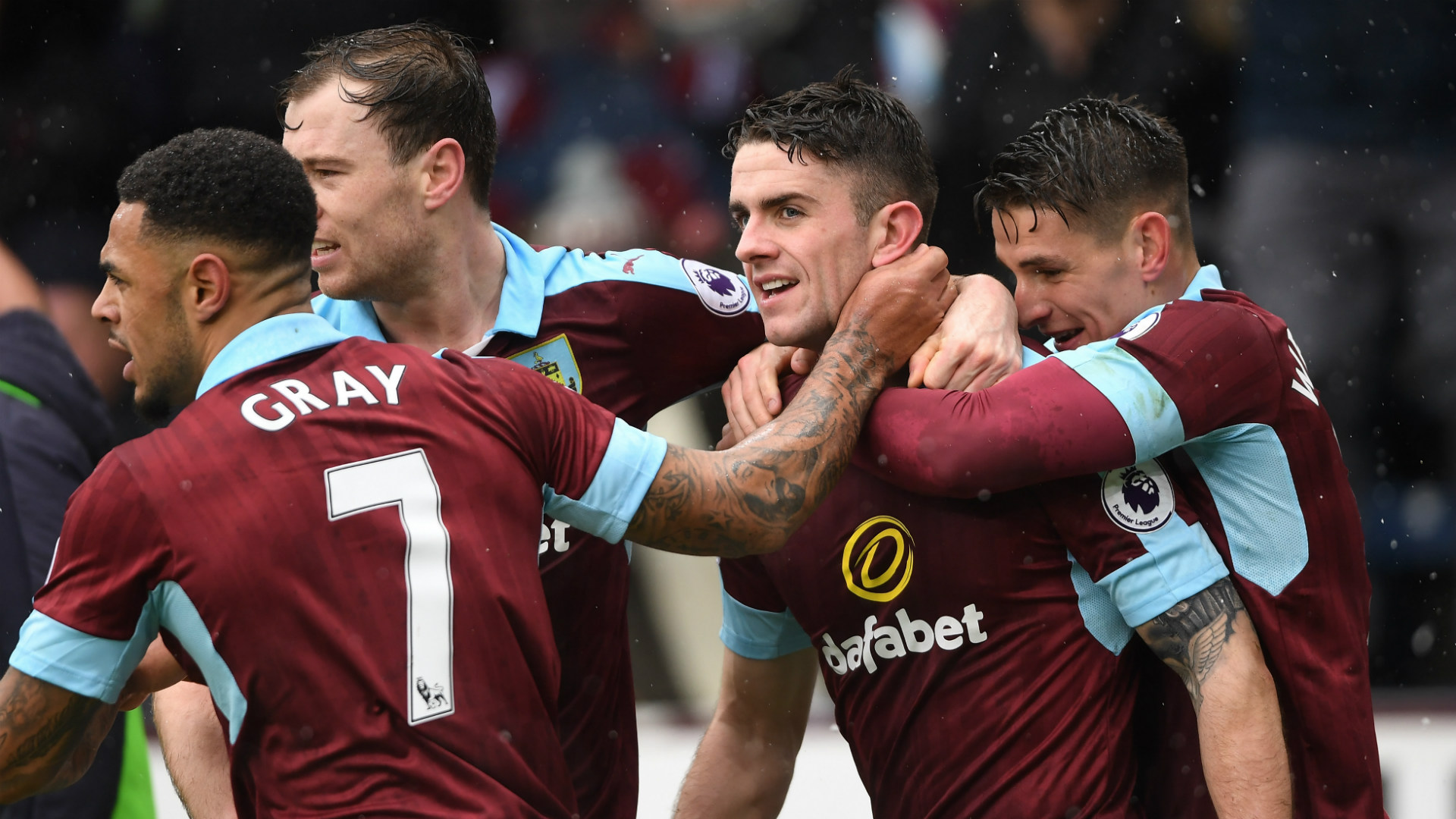 Burnley celebrate Robbie Brady 12022016