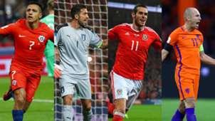 Alexis Sanchez Gianluigi Buffon Gareth Bale Arjen Robben Chile Italia Gales Holanda