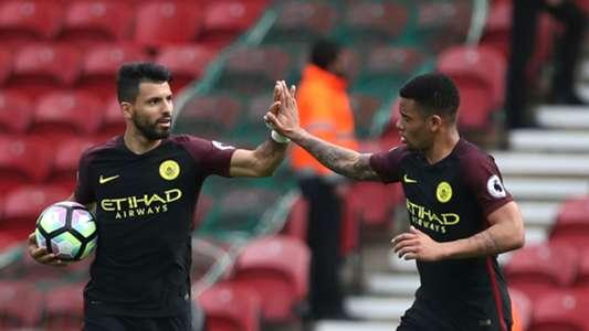 Sergio Aguero Gabriel Jesus Manchester City Premier League 043017
