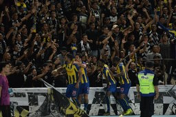 Pahang players celebrate their goal against T-Team with their fans 27/1/2017