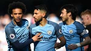 Leroy Sane Sergio Aguero David Silva Manchester City