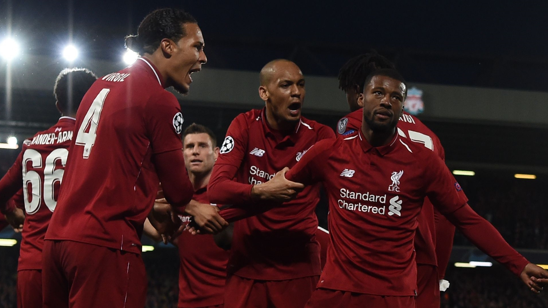 Liverpool celebrate vs Barcelona 2019