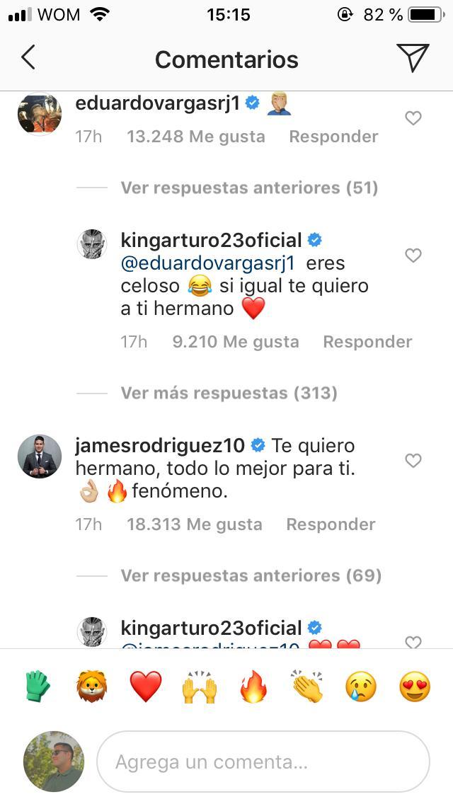 Arturo Vidal James Rodríguez Eduardo Vargas Instagram