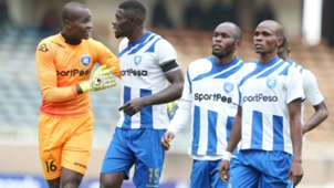 Ezekiel Owade Abdallah Juma and Whyvonne Isuza of AFC Leopards.