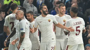 Roma celebrating Chelsea Champions League