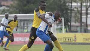 LAWRENCE KASADHA of Tusker MARVIN OMONDI Nabwire of AFC Leopards.