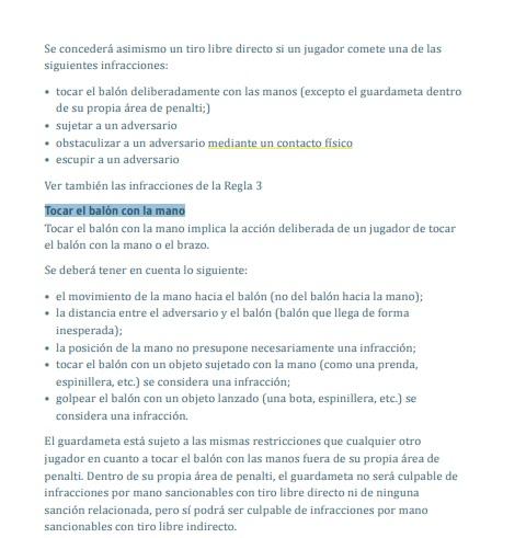 Reglamento FIFA penal por mano e