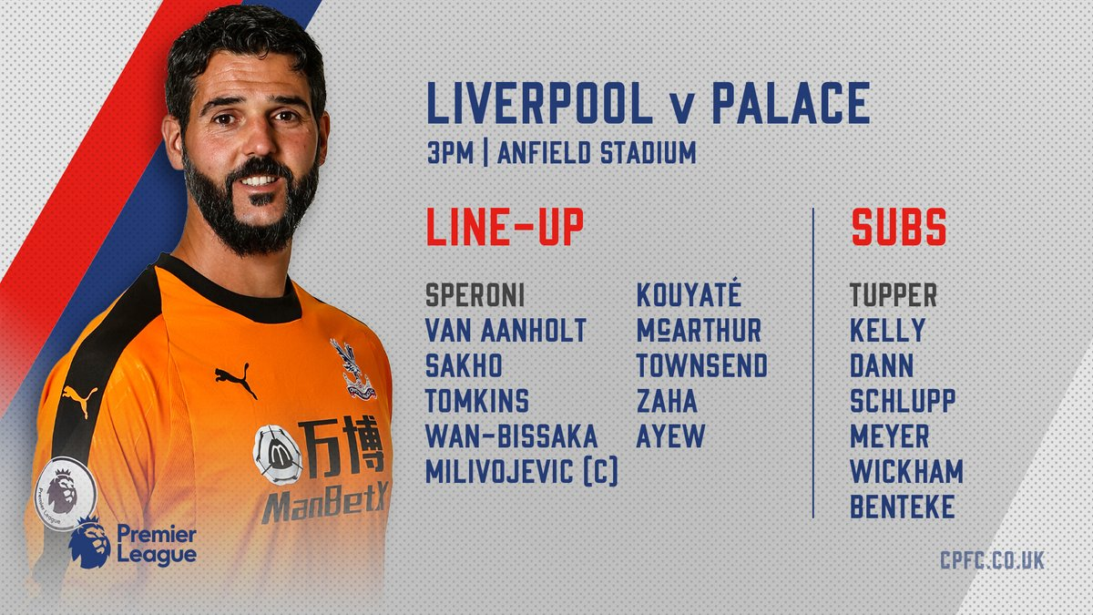 Liverpool vs Crystal Palace line up 19012018