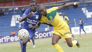Duncan Otewa of Bandari takes on Daniel Mwaura of Mathare United.