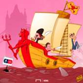 Cartoon Man Utd pirates Chelsea Sarri